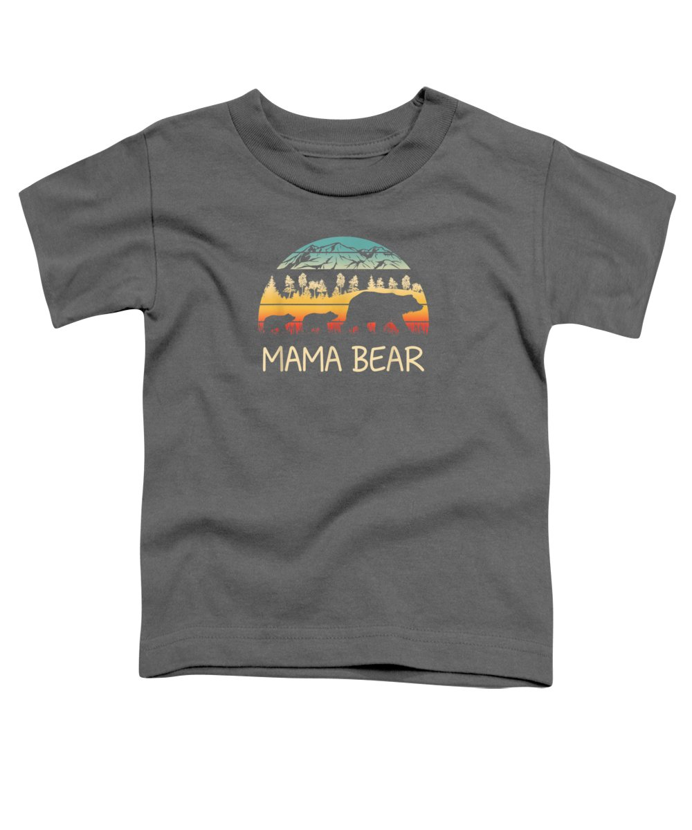 men's Novelty T-shirts Toddler T-Shirt featuring the digital art Mama Bear With 2 Cubs Shirt Retro Mountains Mother's Day by Unique Tees