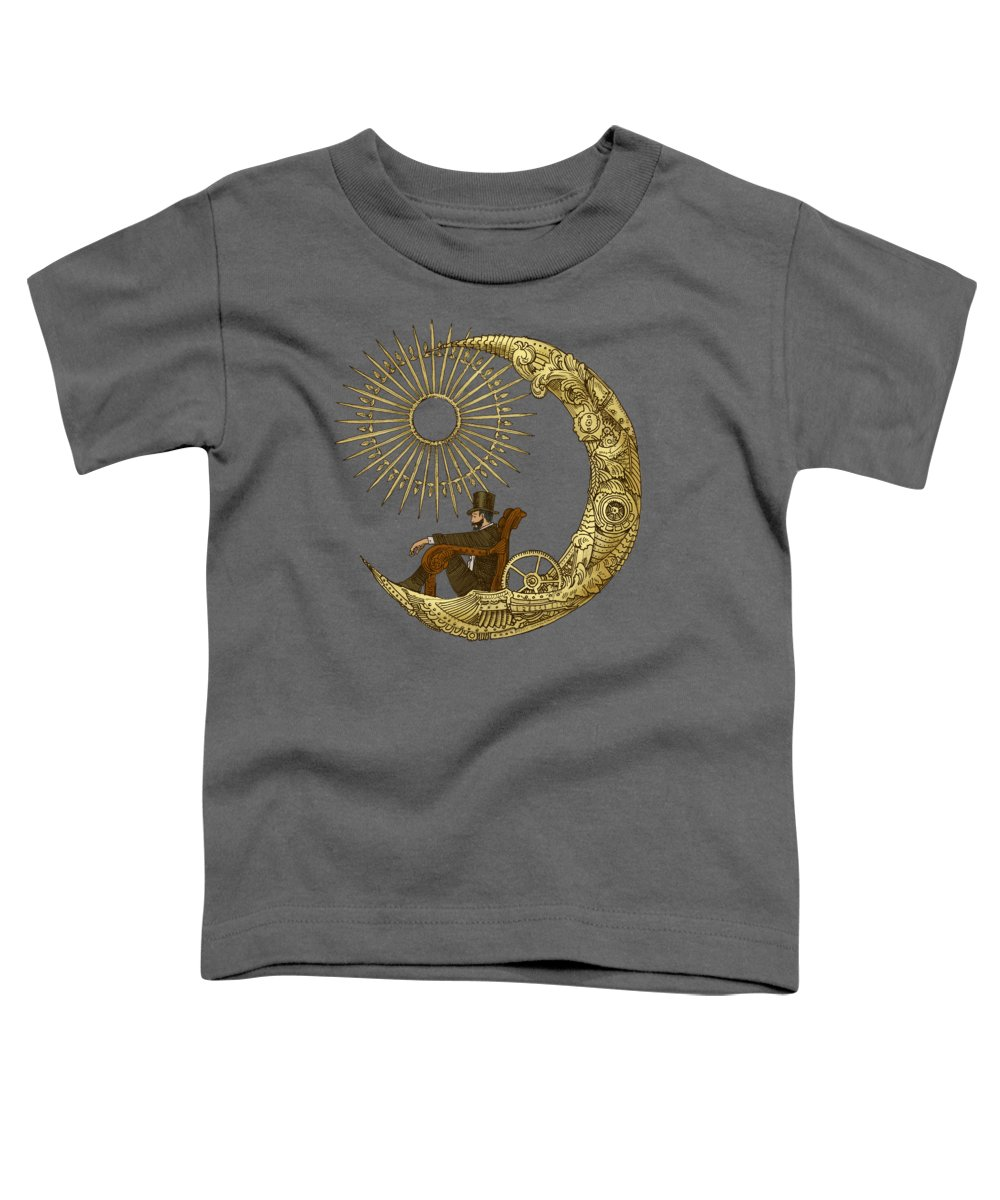 Blue Toddler T-Shirt featuring the digital art Moon Travel by Eric Fan