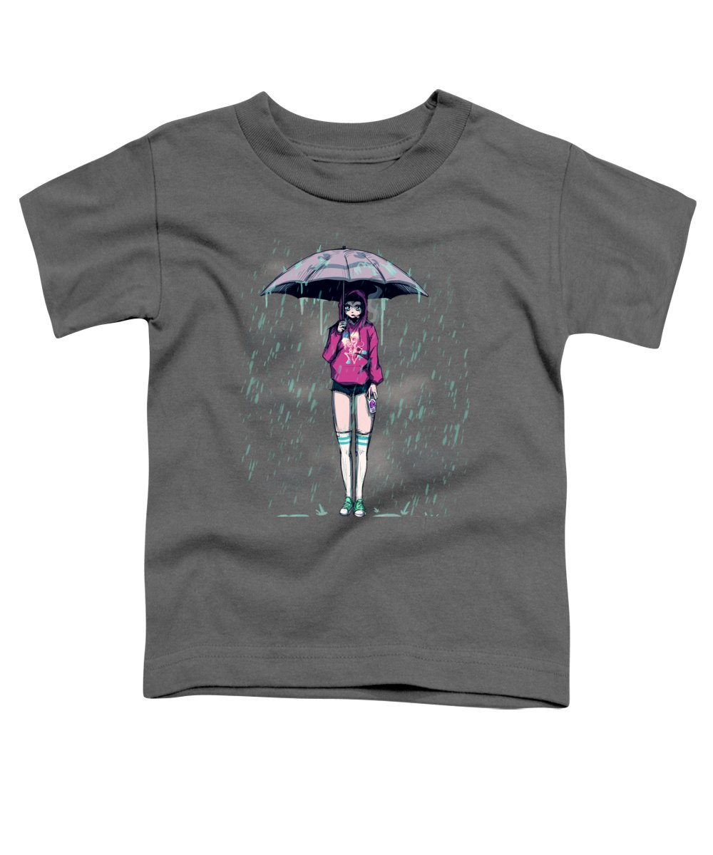 Rain Toddler T-Shirt featuring the drawing Only Happy When It Rains by Ludwig Van Bacon