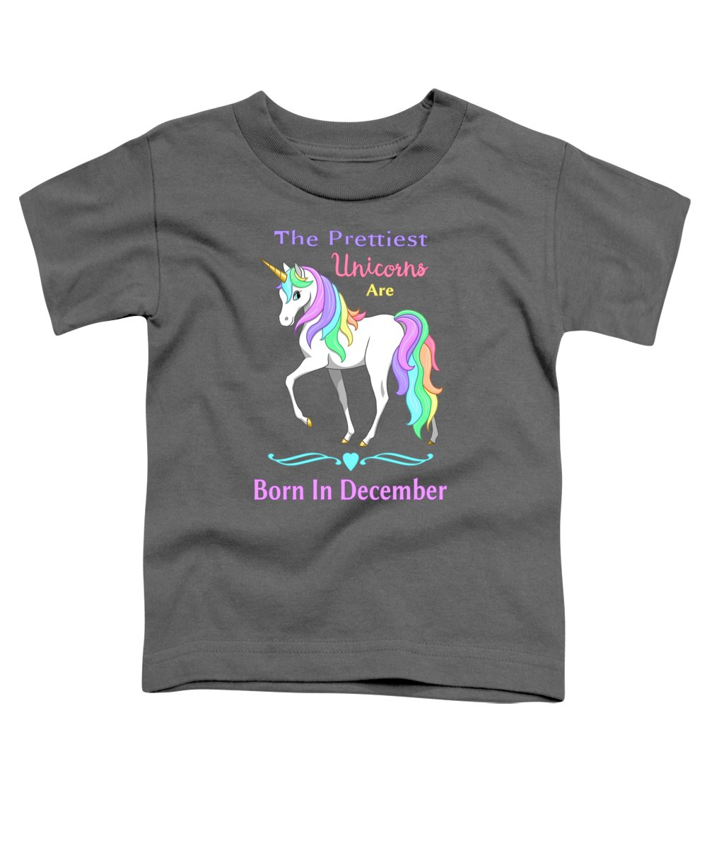 Unicorns Toddler T-Shirt featuring the painting Pretty Rainbow Unicorn Born In December Birthday by Crista Forest