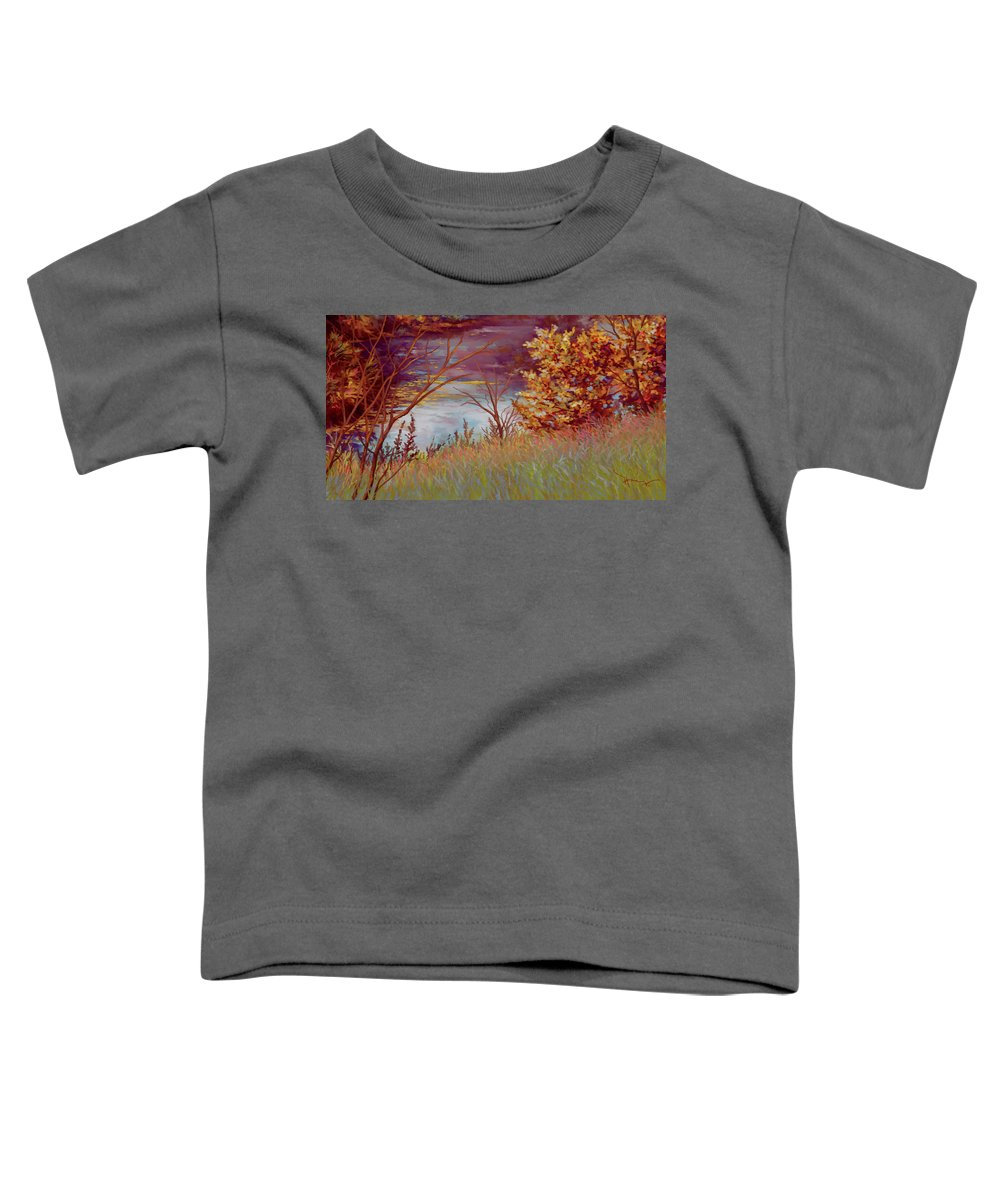 Nature Toddler T-Shirt featuring the painting Riverside by Hans Neuhart