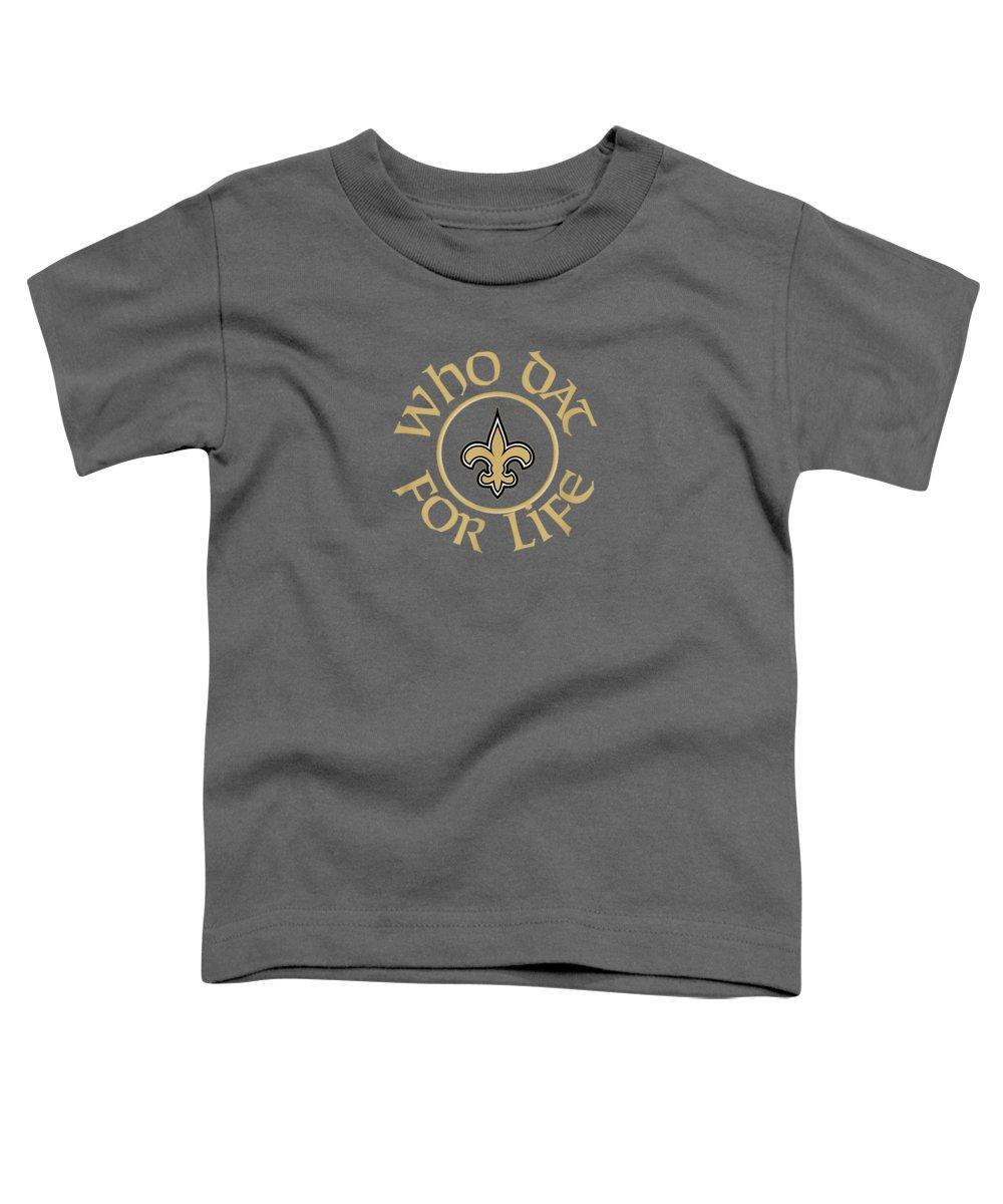 girls' Novelty T-shirts Toddler T-Shirt featuring the digital art Saints For Life Nola New Orleans Football Fan Tshirt by Do David