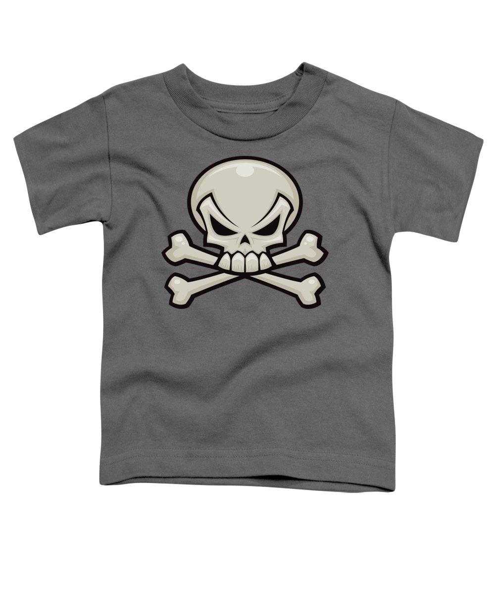 Bone Toddler T-Shirt featuring the digital art Skull and Crossbones by John Schwegel
