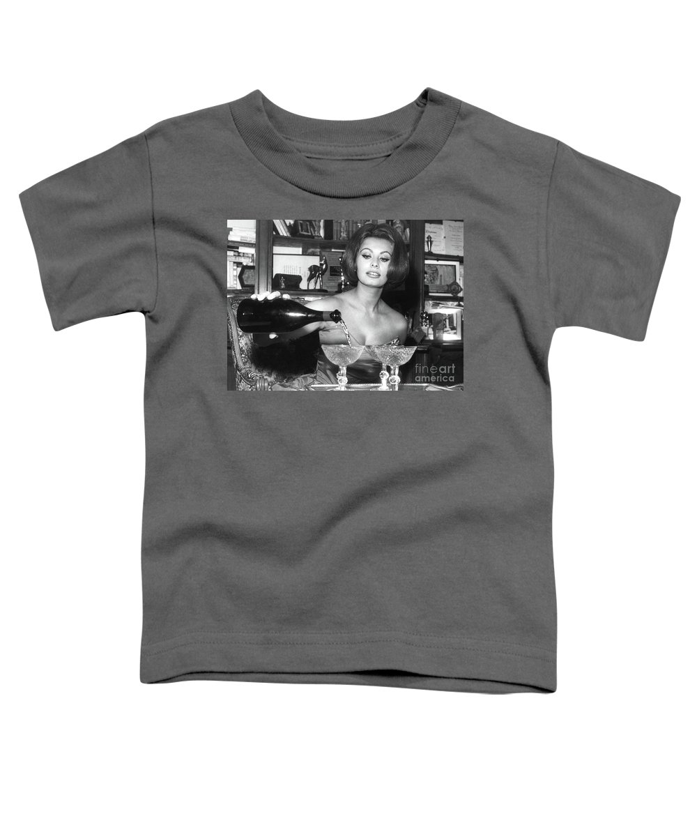 Sophia Loren Toddler T-Shirt featuring the digital art Sophia Loren, coupe Champagne glasses by Thomas Pollart