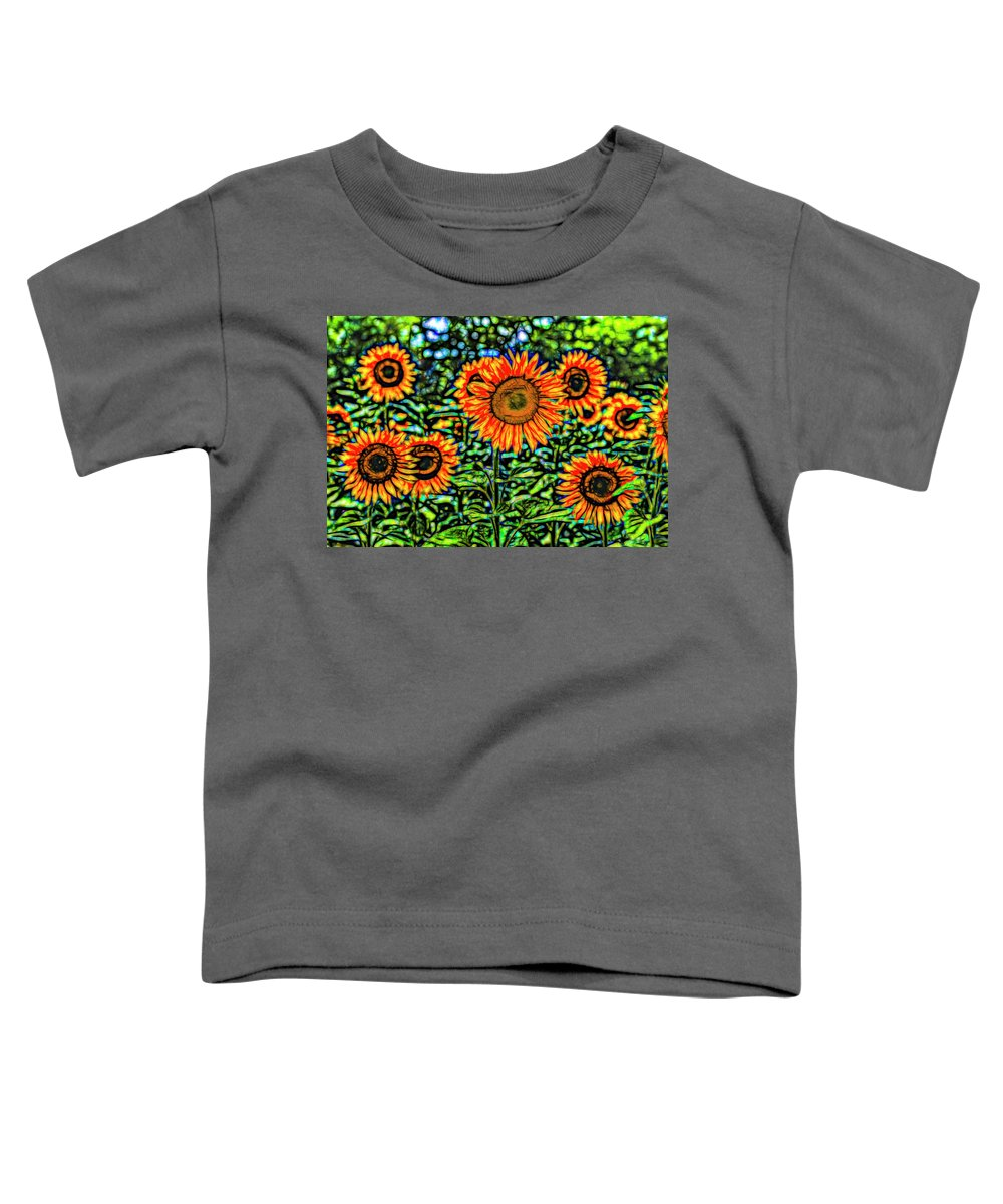 Stained Glass Flower Toddler T-Shirt featuring the photograph Sunflowers Stained Glass Art by David Pyatt