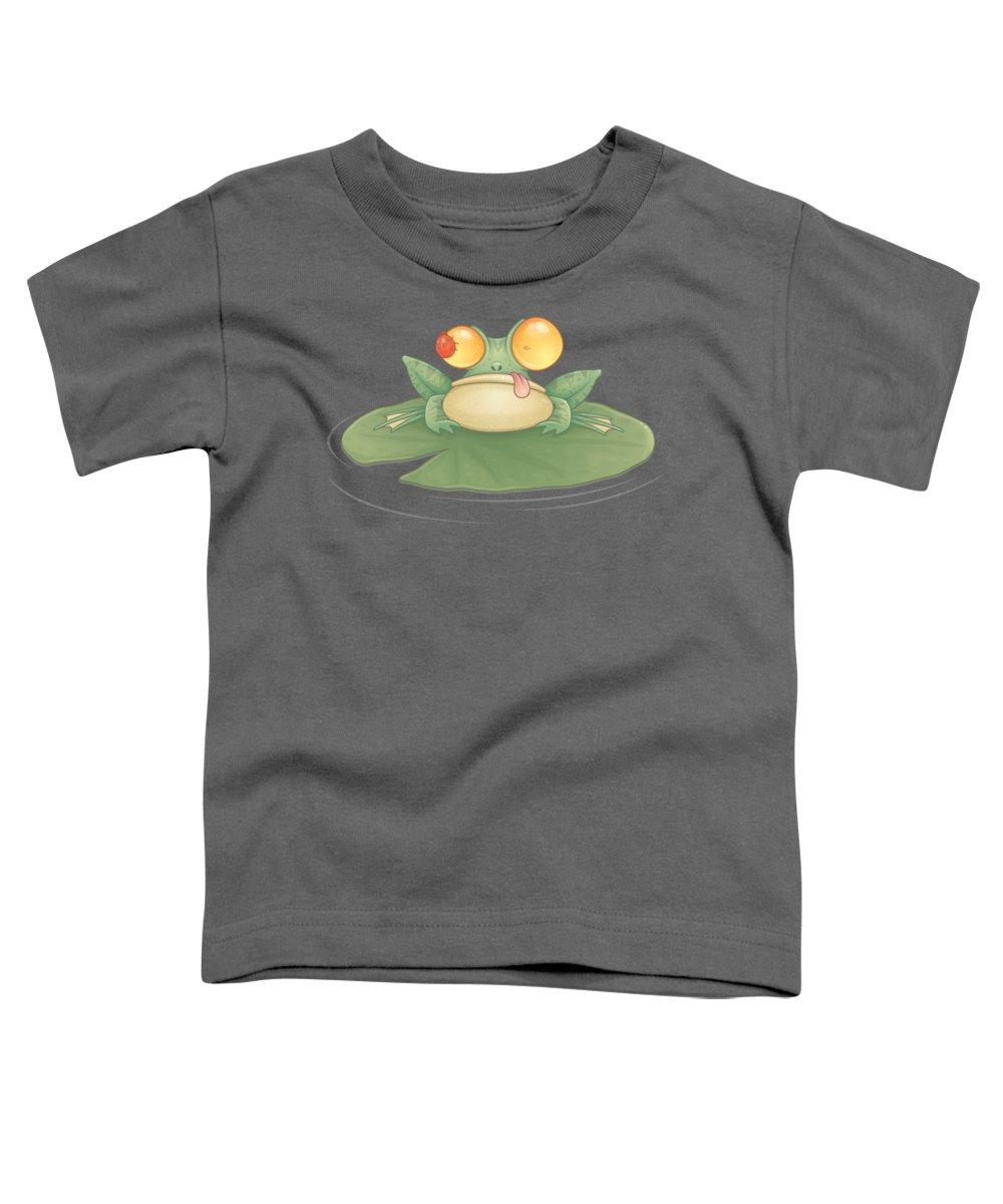 Frog Toddler T-Shirt featuring the digital art Swamp Snack by John Schwegel