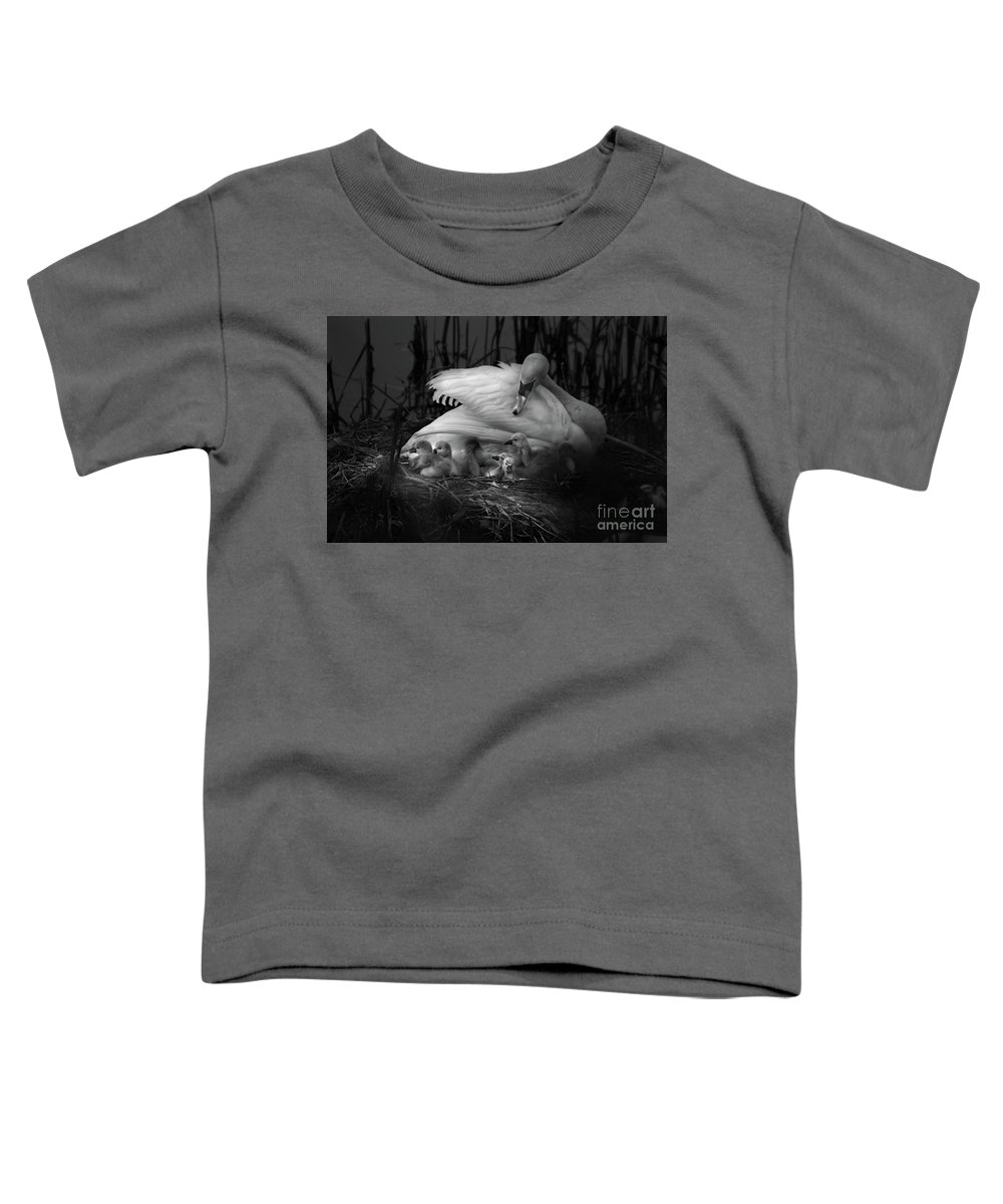 Swan Toddler T-Shirt featuring the photograph Swan, Proud Mum by Linsey Williams