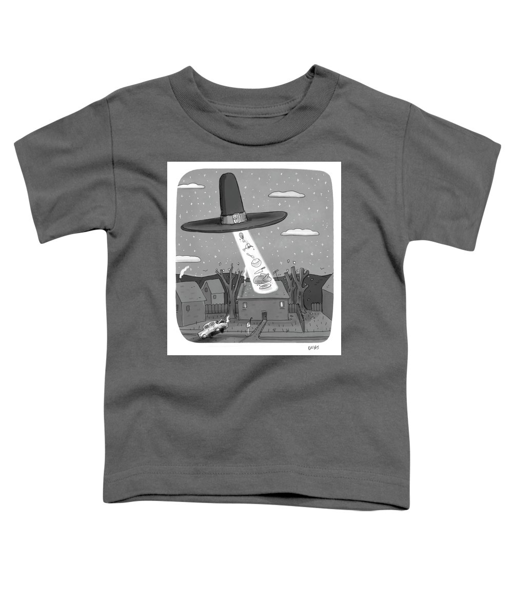 Captionless Toddler T-Shirt featuring the drawing Thanksgiving Aliens by Andy Dubbin