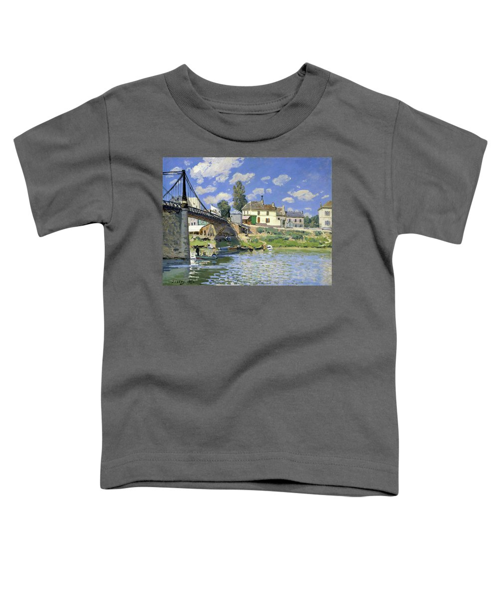 Alfred Sisley Toddler T-Shirt featuring the painting The Bridge At Villeneuve-la-garenne - Digital Remastered Edition by Alfred Sisley