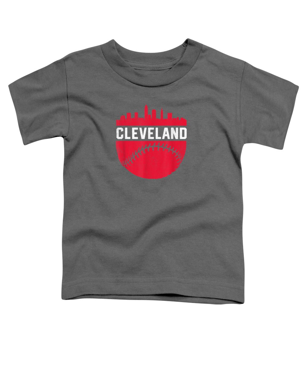 girls' Novelty Clothing Toddler T-Shirt featuring the digital art Vintage Downtown Cleveland Ohio Skyline Baseball T-shirt by Unique Tees