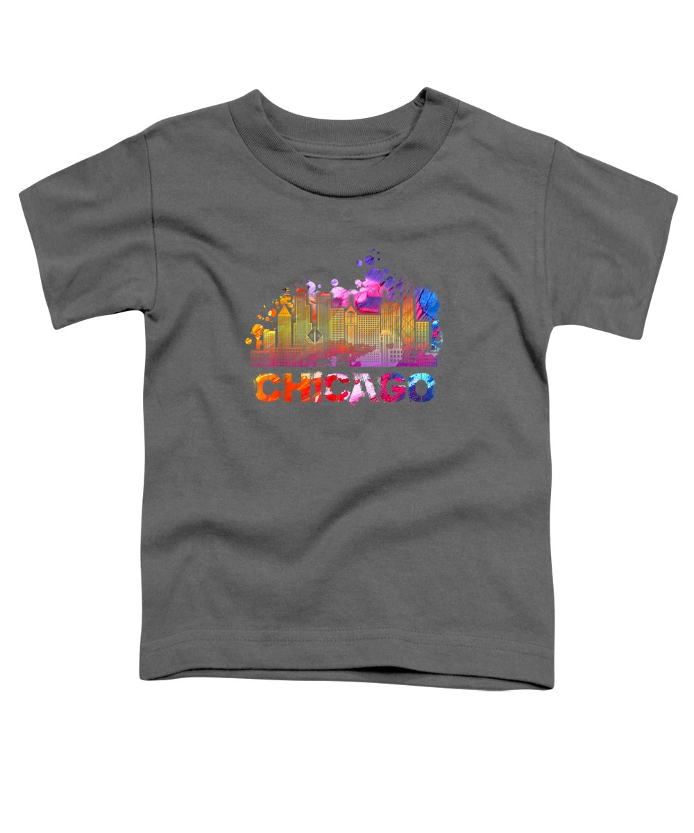girls' Novelty Clothing Toddler T-Shirt featuring the digital art Vintage Retro Chicago Illinois Skyline Tshirt by Unique Tees