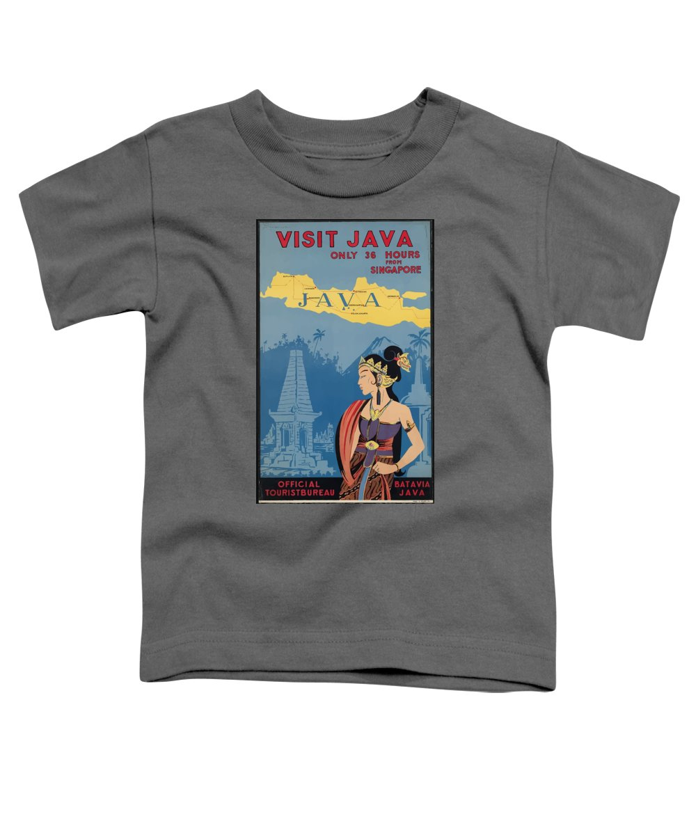 Java Toddler T-Shirt featuring the painting Vintage Travel Poster - Java by Esoterica Art Agency