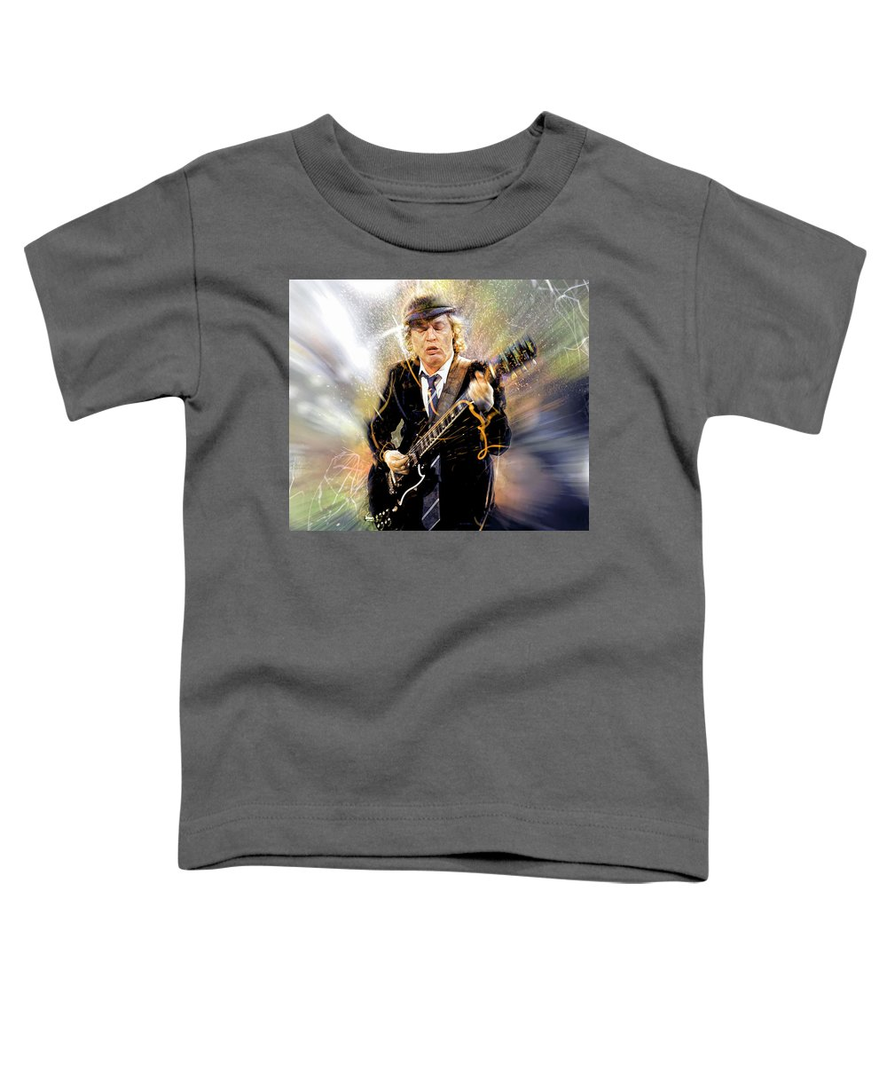 Angus Young Toddler T-Shirt featuring the digital art You've been thunderstruck by Mal Bray