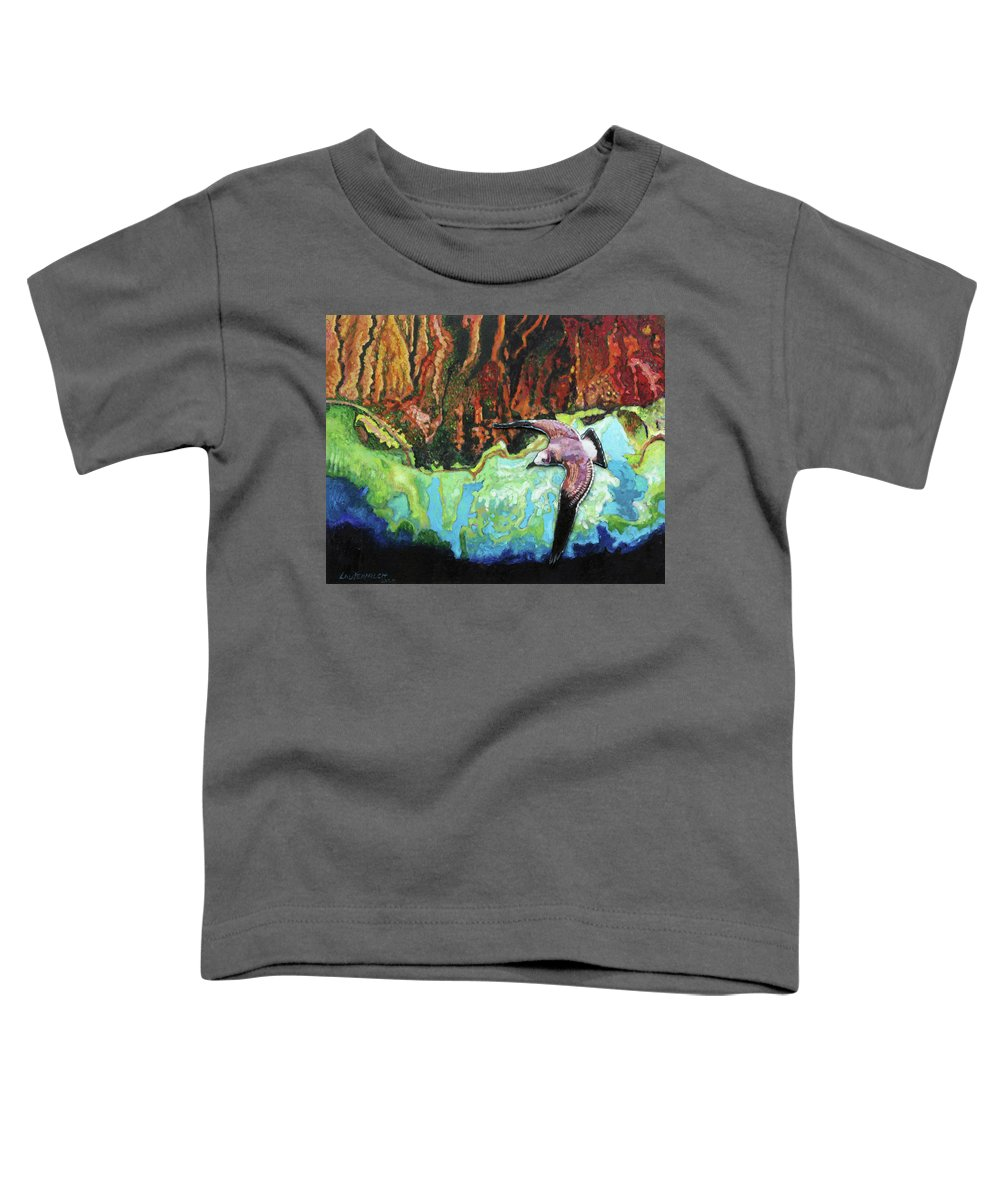 Sea Gull Toddler T-Shirt featuring the painting Flying High by John Lautermilch