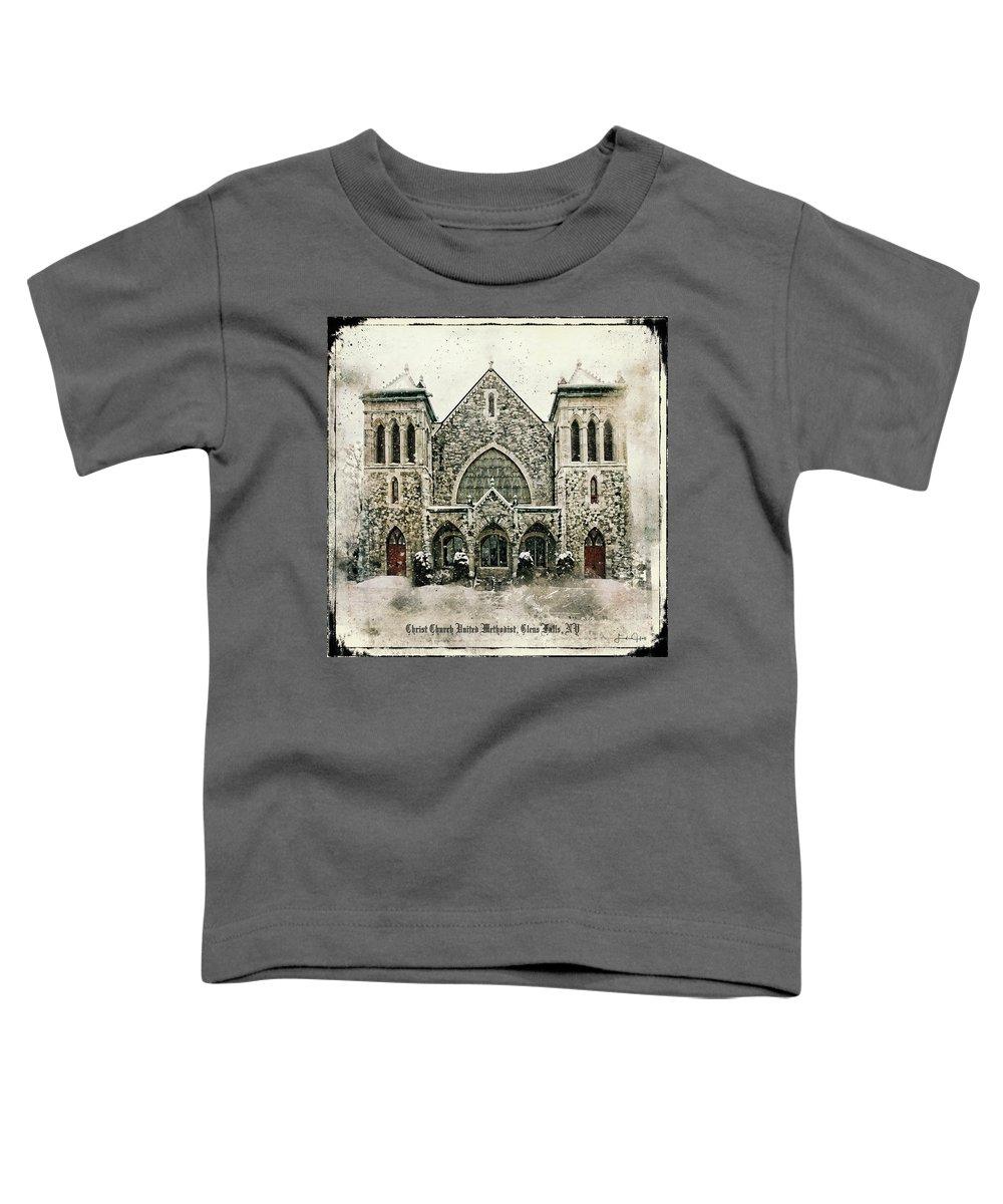 Church Toddler T-Shirt featuring the digital art Christ Church United Methodist by Linda Lee Hall