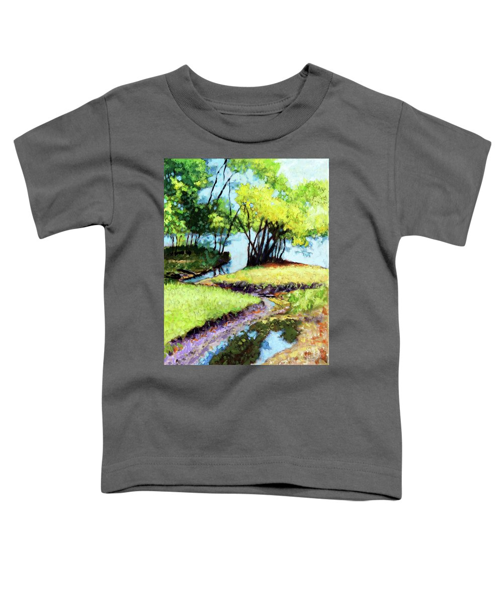Trees Toddler T-Shirt featuring the painting Creve Coeur Stream by John Lautermilch