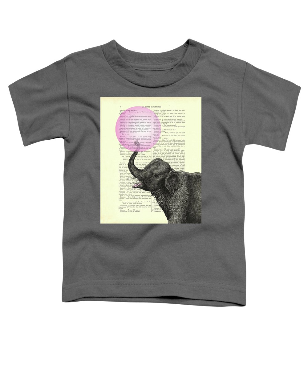Elephant Toddler T-Shirt featuring the mixed media Elephant bubble gum home decor by Madame Memento