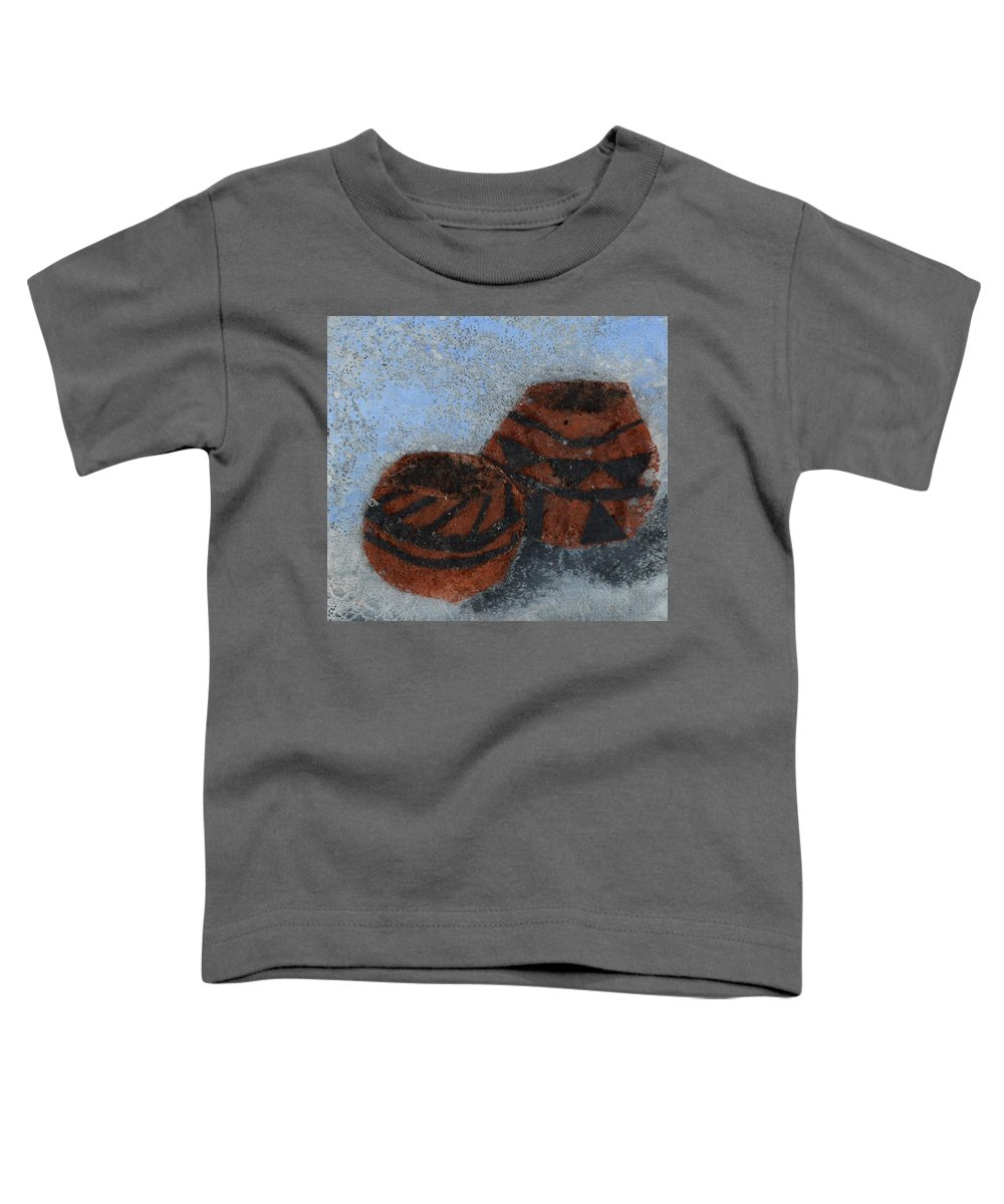 Pottery Toddler T-Shirt featuring the mixed media Pots by Charla Van Vlack