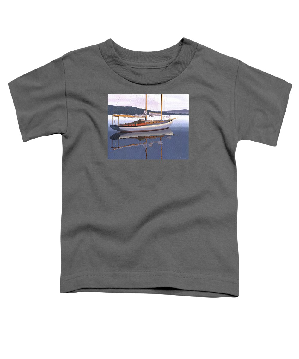 Schooner Toddler T-Shirt featuring the painting Schooner at dusk by Gary Giacomelli