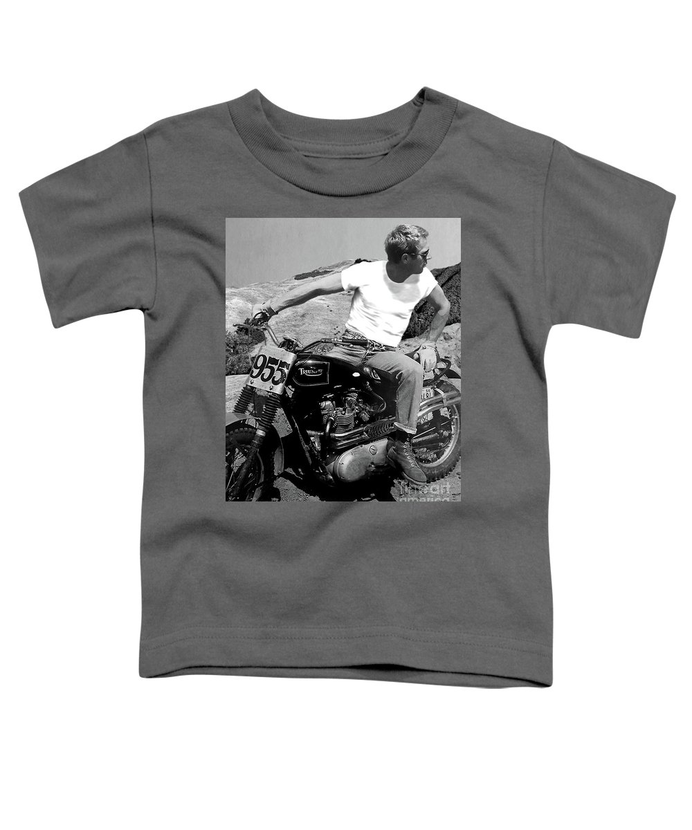Steve Mcqueen Toddler T-Shirt featuring the mixed media Steve McQueen, Triumph motorcycle, On any Sunday by Thomas Pollart
