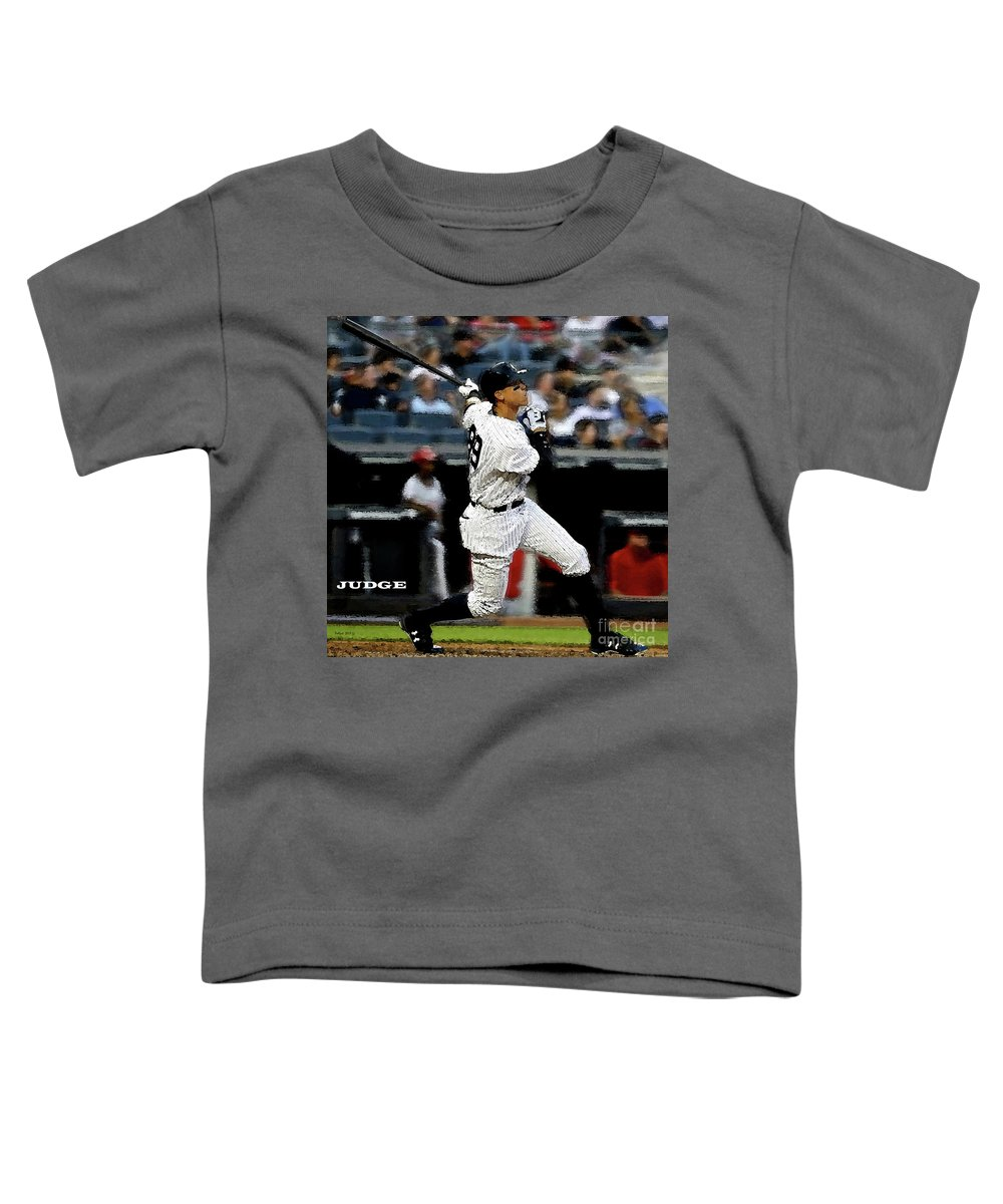 New York Toddler T-Shirt featuring the painting The Judge, Aaron Judge, number 99, New York, Yankees by Thomas Pollart