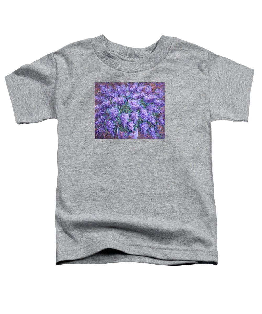 Flowers Toddler T-Shirt featuring the painting Scented Lilacs Bouquet by Natalie Holland
