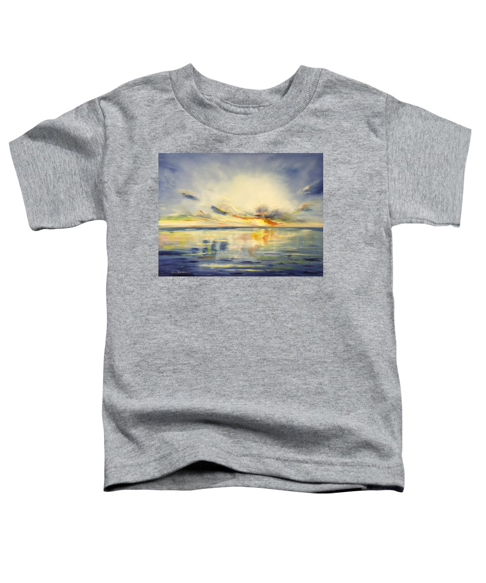 Blue Toddler T-Shirt featuring the painting Blue Sunset by Gina De Gorna