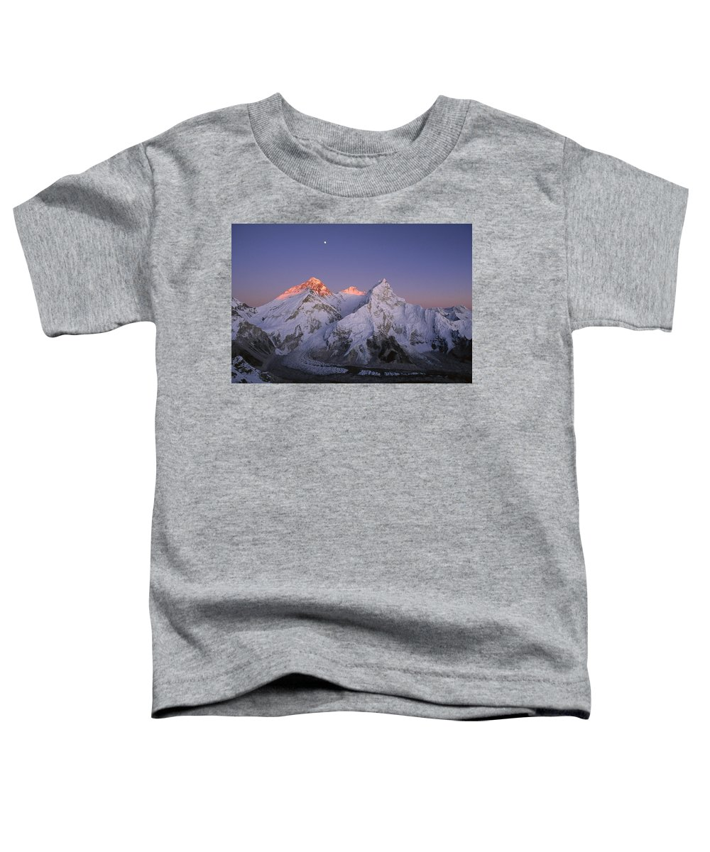 Feb0514 Toddler T-Shirt featuring the photograph Moon Over Mount Everest Summit by Grant Dixon