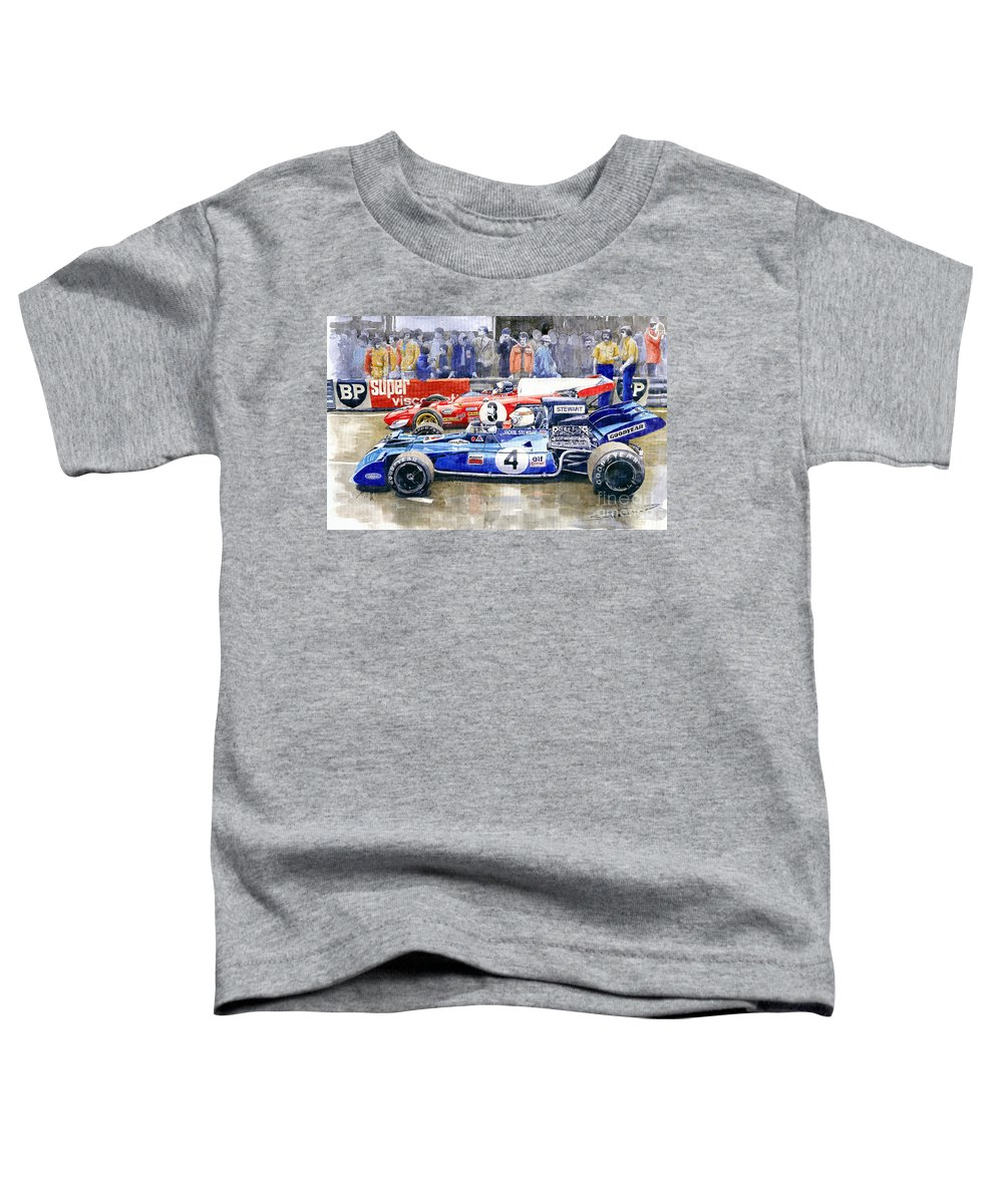 Watercolor Toddler T-Shirt featuring the photograph 1972 French Gp Jackie Stewart Tyrrell 003 Jacky Ickx Ferrari 312b2 by Yuriy Shevchuk