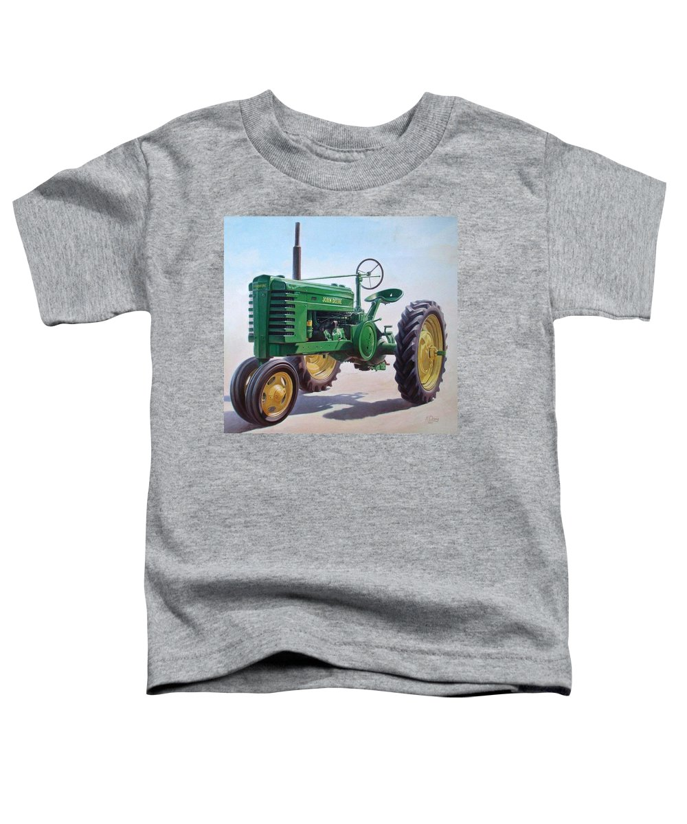 Tractor Toddler T-Shirt featuring the painting John Deere Tractor by Hans Droog