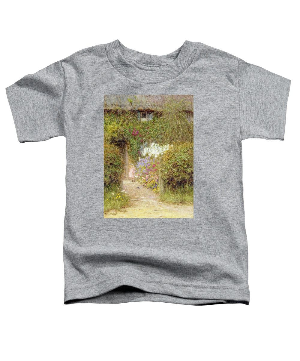 Garden Toddler T-Shirt featuring the painting A Cottage At Redlynch by Helen Allingham
