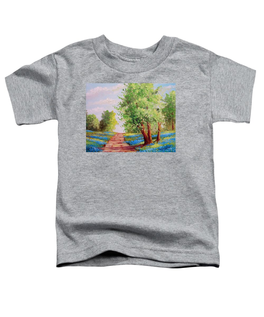 Bluebonnets Toddler T-Shirt featuring the painting Backroad Bluebonnets by David G Paul