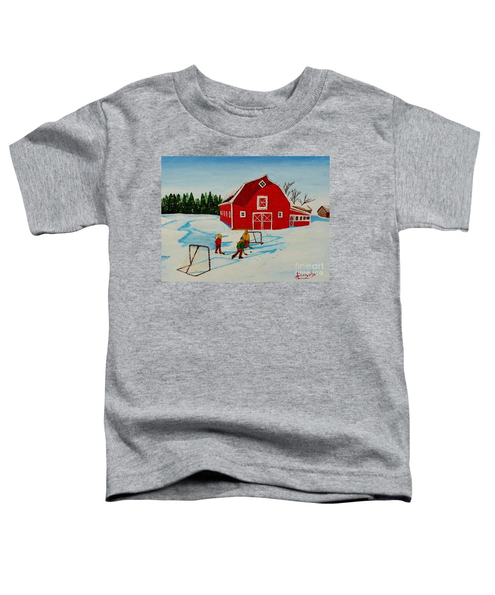 Hockey Toddler T-Shirt featuring the painting Barn Yard Hockey by Anthony Dunphy
