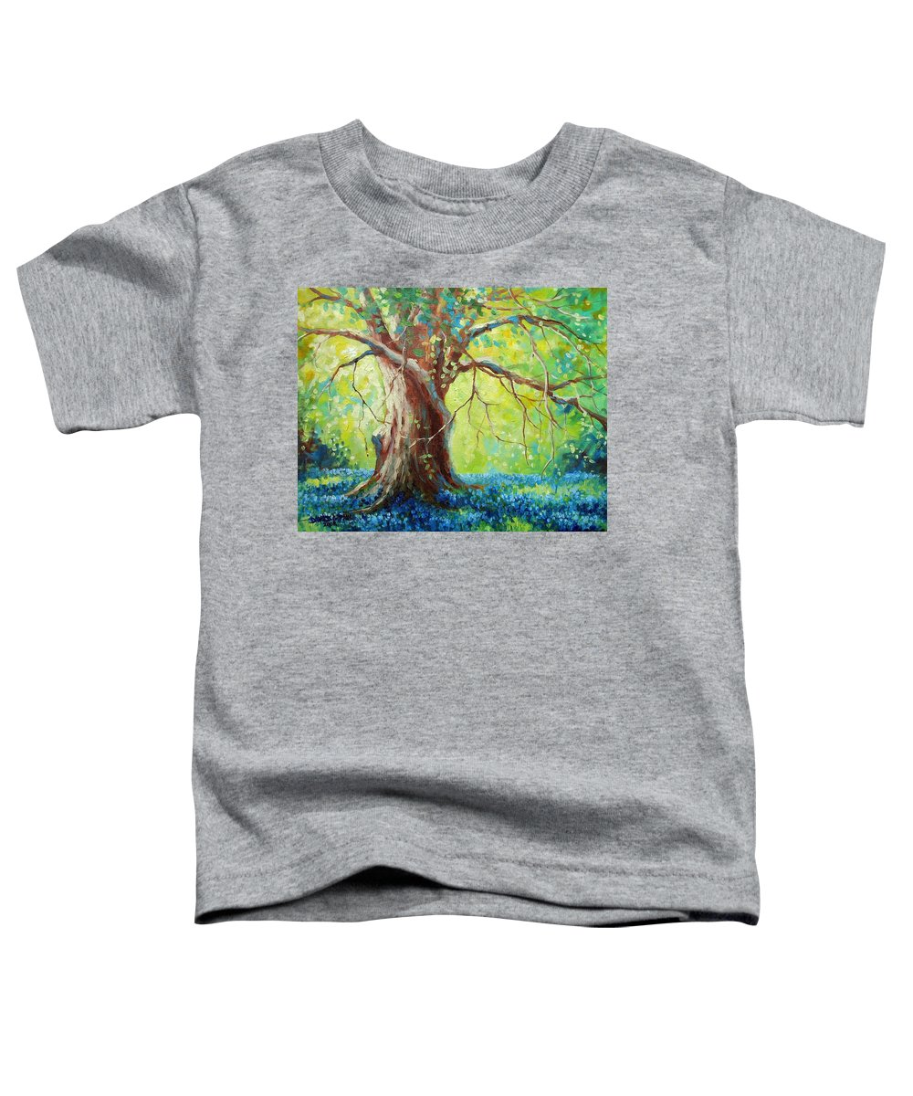 Bluebonnets Toddler T-Shirt featuring the painting Bluebonnets Under The Oak by David G Paul