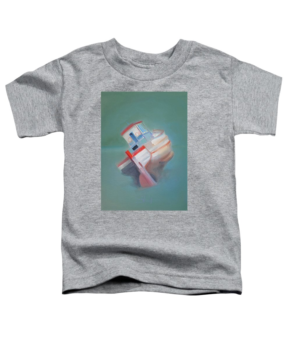 Fishing Boat Toddler T-Shirt featuring the painting Boat Retired Tavira by Charles Stuart