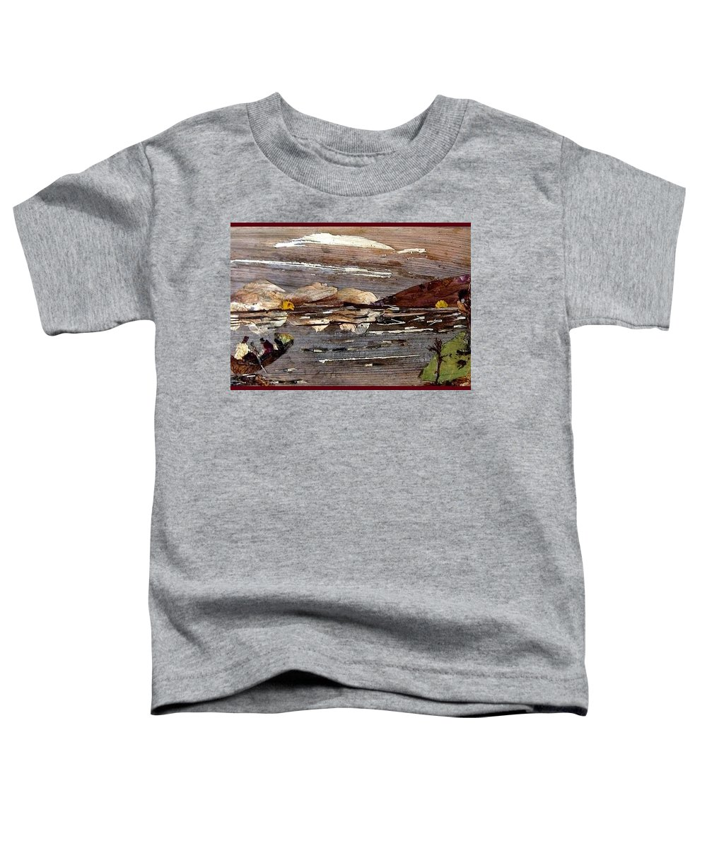 Boating Scene Toddler T-Shirt featuring the mixed media Boating In River by Basant Soni