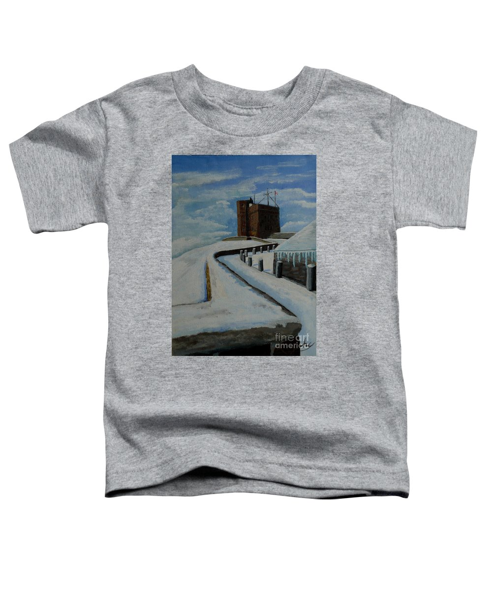 Landscape Toddler T-Shirt featuring the painting Cabot Tower Newfoundland by Anthony Dunphy