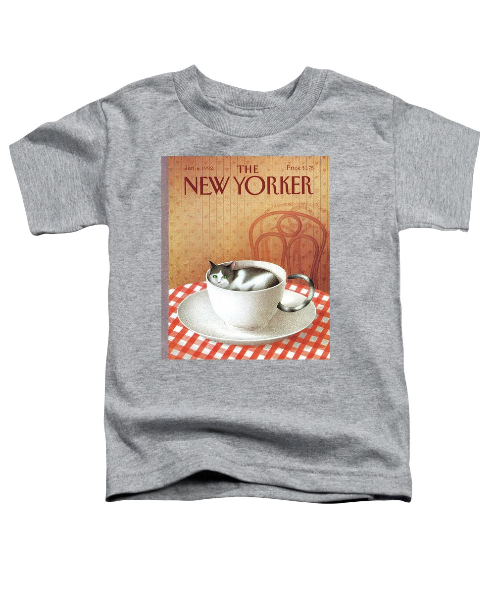 Cat Toddler T-Shirt featuring the painting Cat Sits Inside A Coffee Cup by Gurbuz Dogan Eksioglu