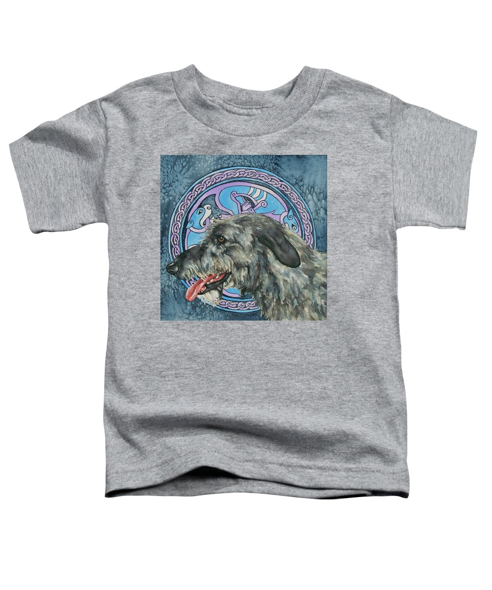 Celtic Toddler T-Shirt featuring the painting Celtic Hound by Beth Clark-McDonal