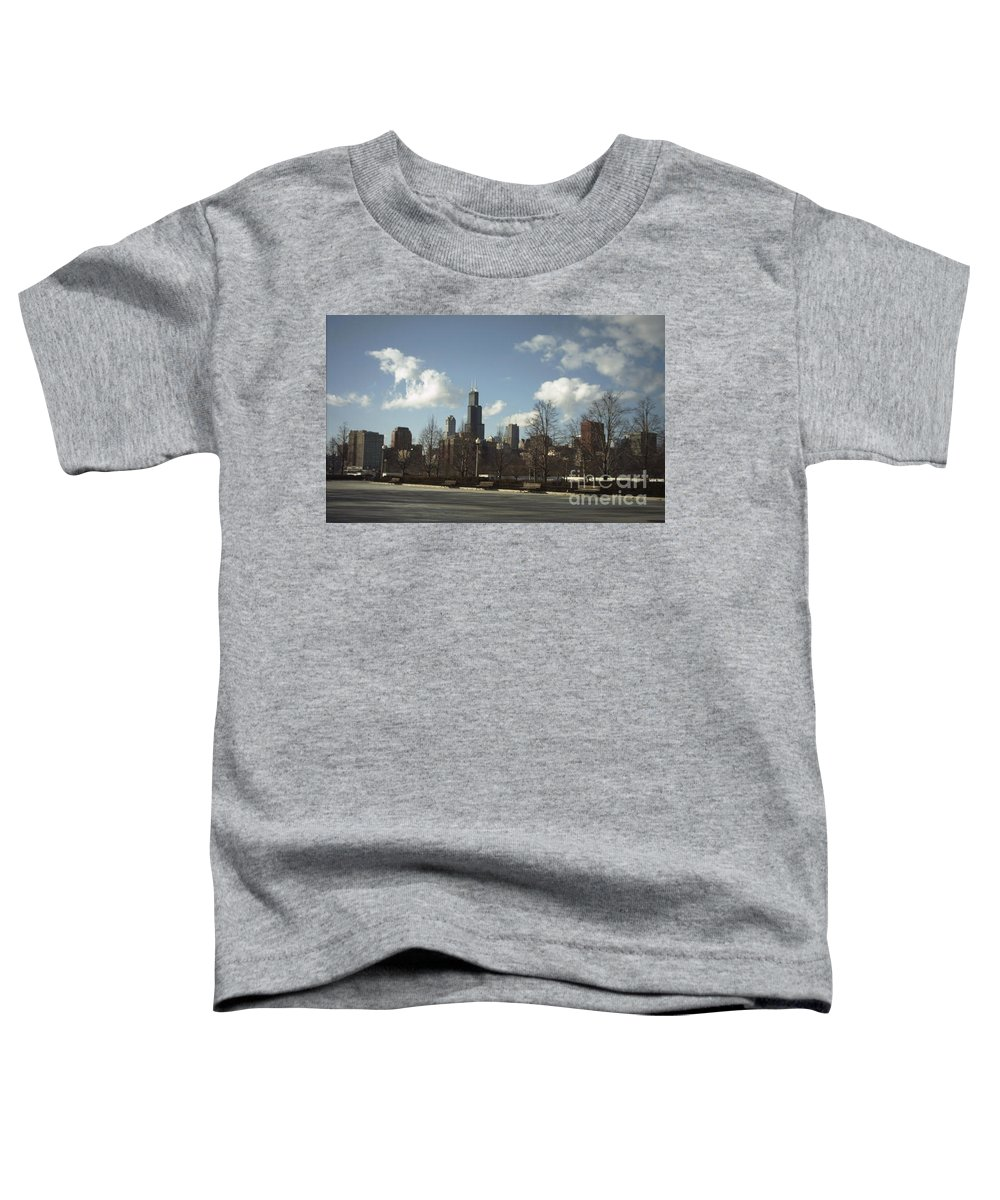 Chicago Skyline Toddler T-Shirt featuring the photograph Chicago Skyline Postcard by Minding My Visions by Adri and Ray