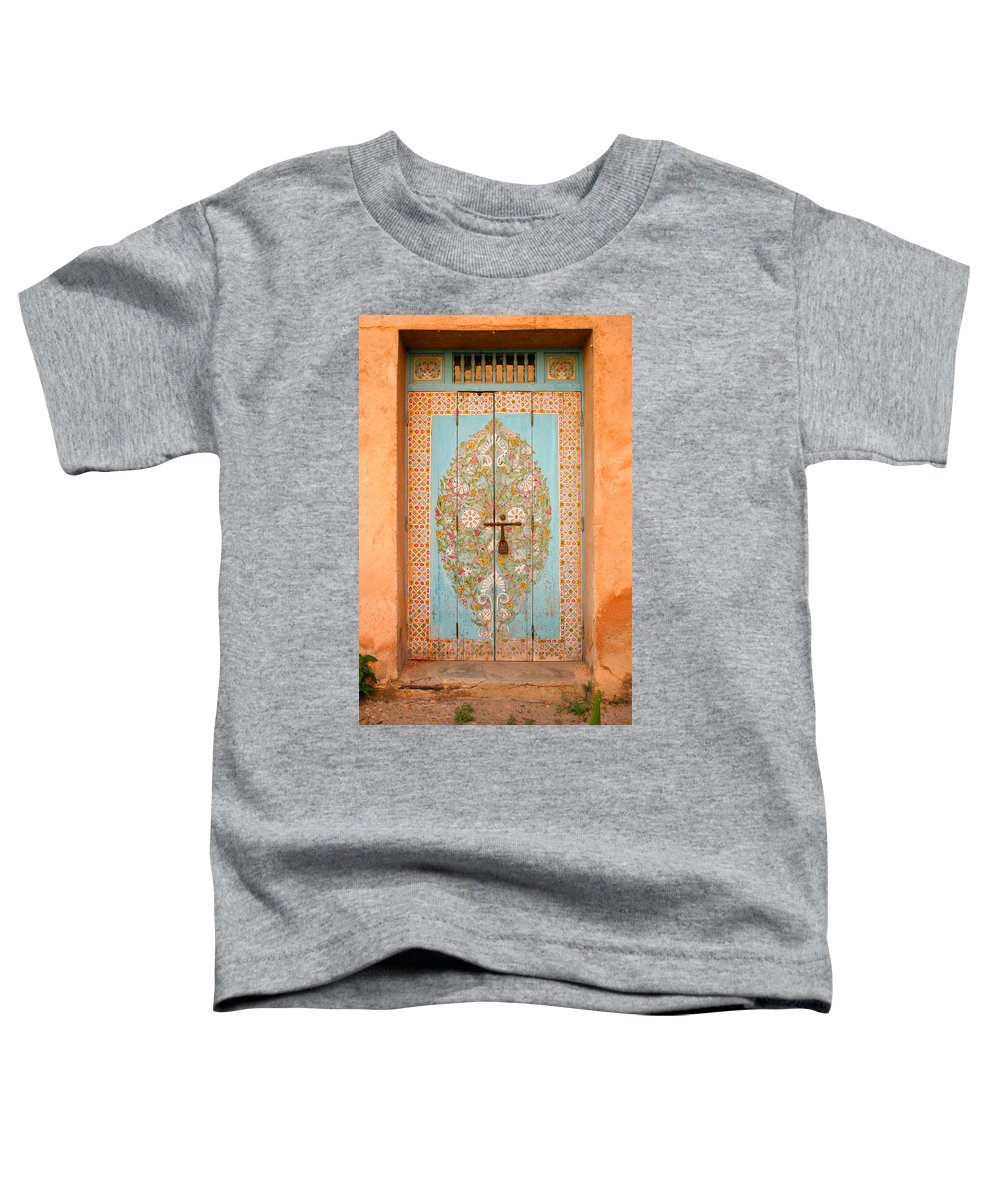 Door Toddler T-Shirt featuring the photograph Colourful Moroccan Entrance Door Sale Rabat Morocco by Ralph A Ledergerber-Photography