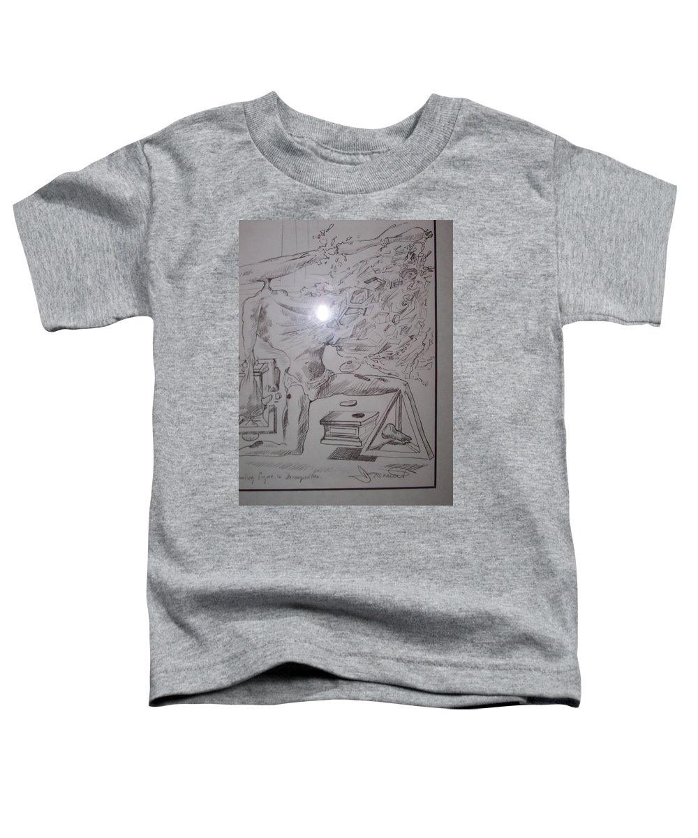 Toddler T-Shirt featuring the painting Decomposition Of Kneeling Man by Jude Darrien
