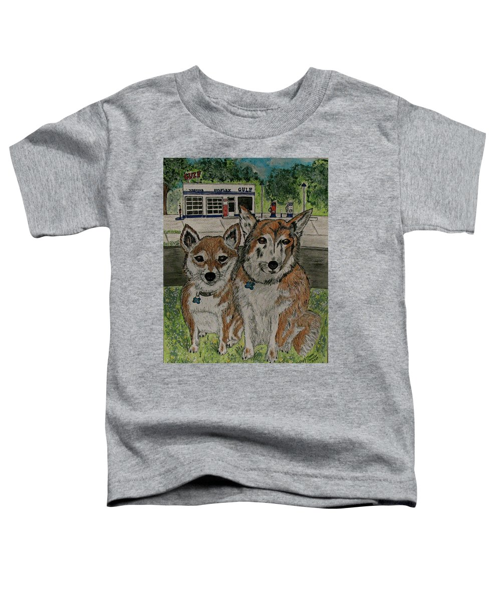 Dogs Toddler T-Shirt featuring the painting Dogs In Front Of The Gulf Station by Kathy Marrs Chandler