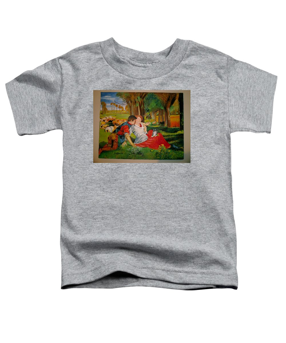 Toddler T-Shirt featuring the painting double portrait of freinds Gunner and Jessie by Jude Darrien