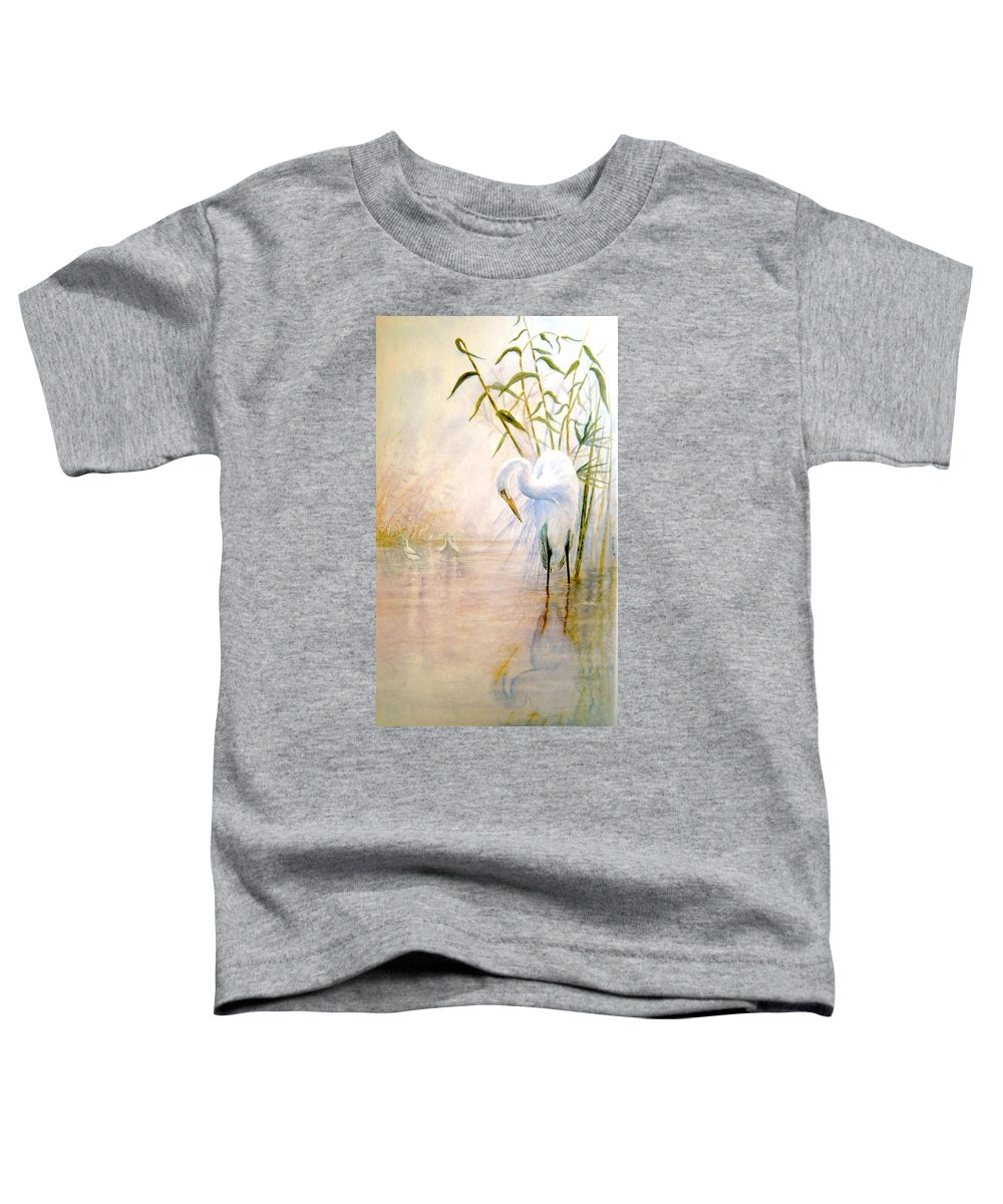 Eret; Bird; Low Country Toddler T-Shirt featuring the painting Egret by Ben Kiger
