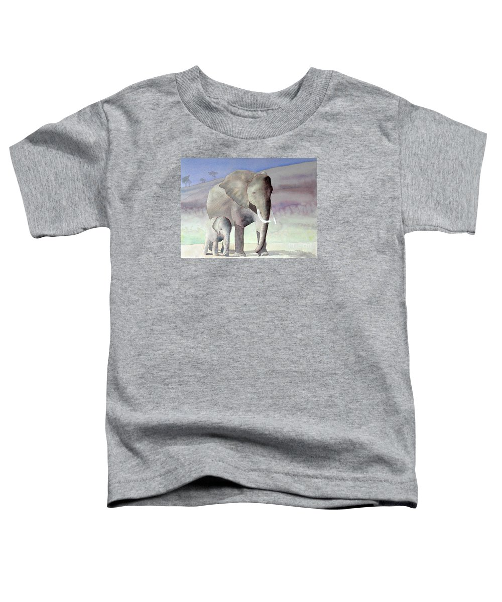 Landscape Toddler T-Shirt featuring the painting Elephant Family by Laurel Best