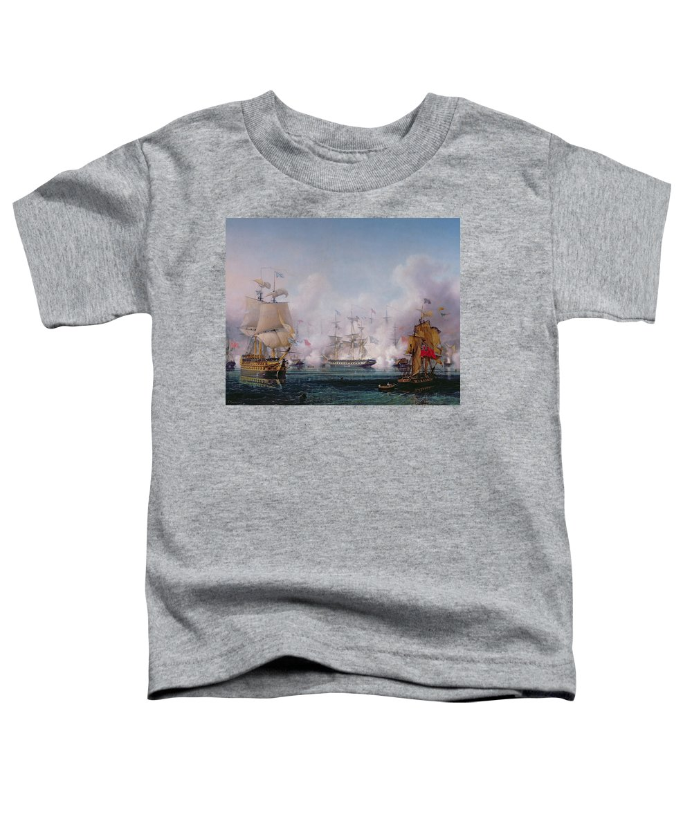 Boat Toddler T-Shirt featuring the painting Episode Of The Battle Of Navarino by Ambroise-Louis Garneray