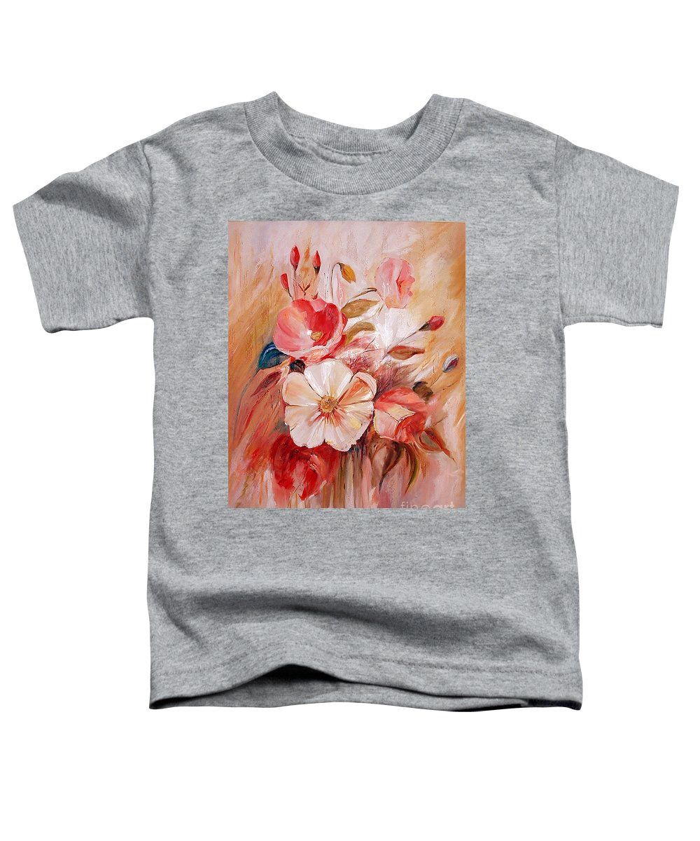 Abstract Toddler T-Shirt featuring the painting Flowers I by Silvana Abel