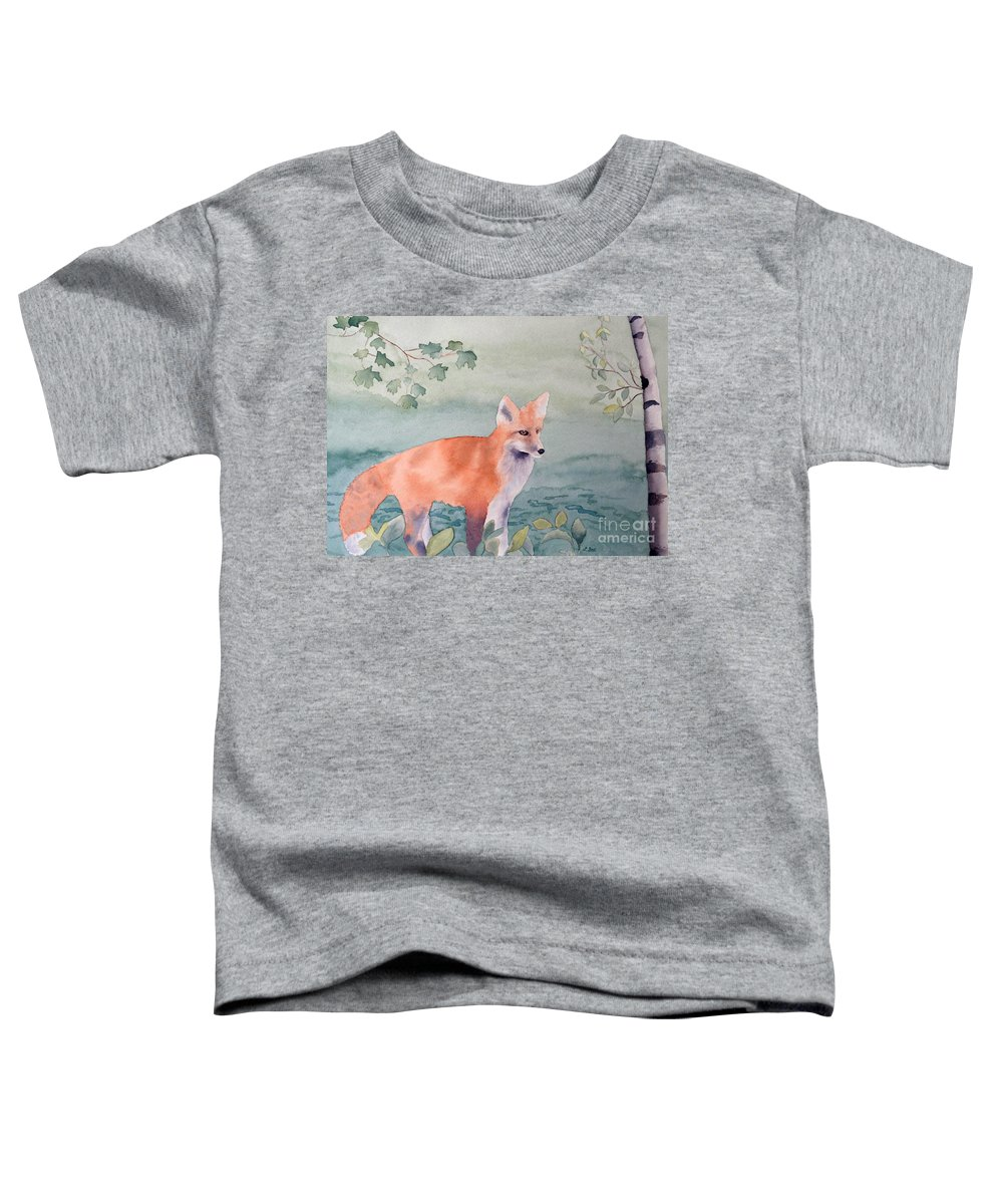 Fox Toddler T-Shirt featuring the painting Fox And Birch by Laurel Best