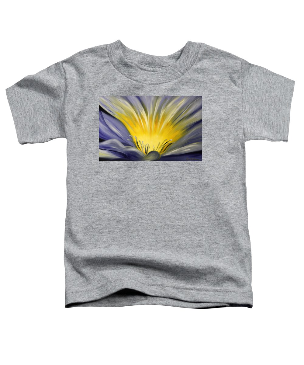 Blue Toddler T-Shirt featuring the painting From The Heart Of A Flower Blue by Gina De Gorna